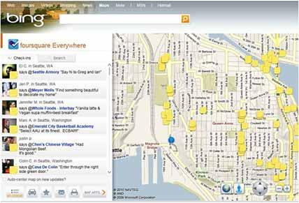 Google Bing incorpora Foursquare