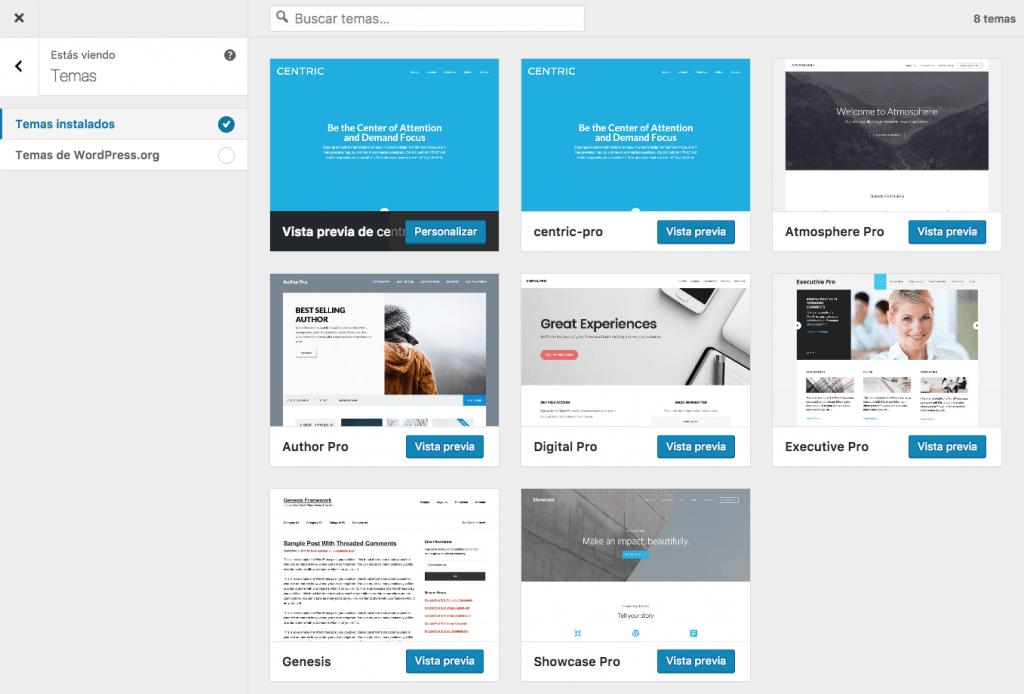 Cambiar temas personalizador de WordPress