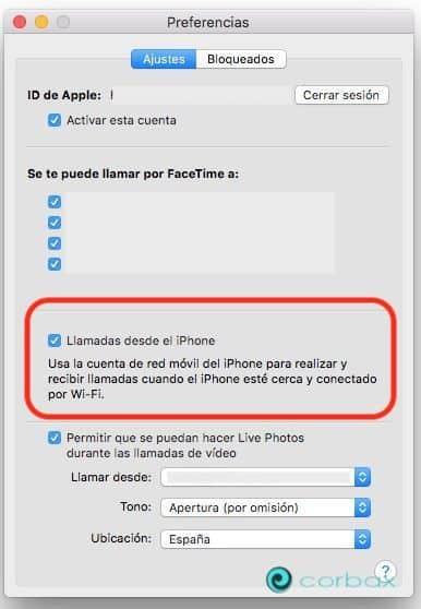 Configurar Facetime llamadas entre iPhone y un Mac