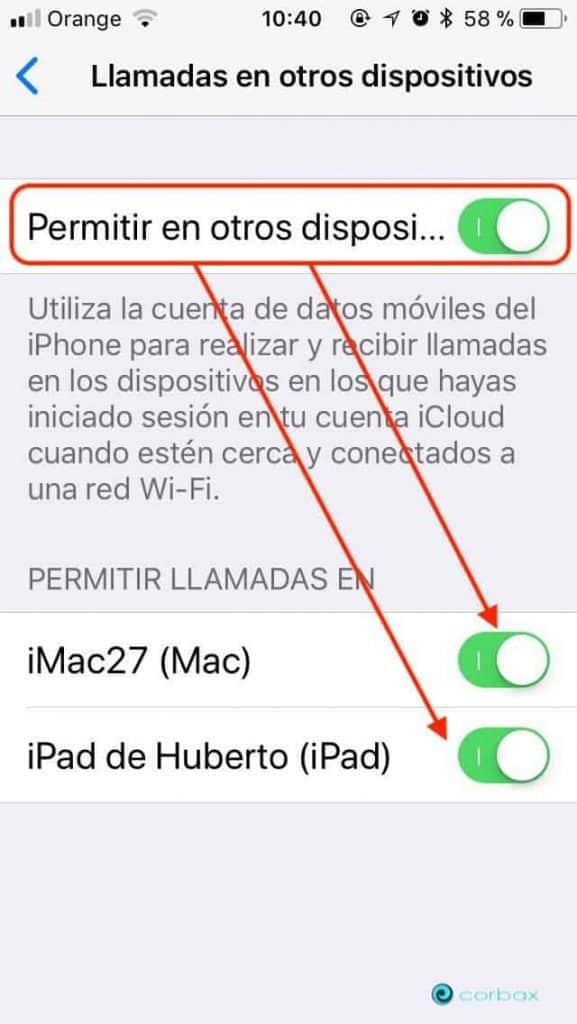 Llamar a otros dispositivo Llamadas entre iPhone y un Mac