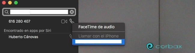 Seleccionar Facetime de audio