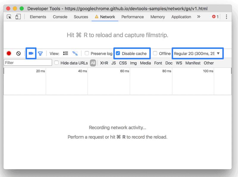 Chrome DevTools para medir la velocidad 2G