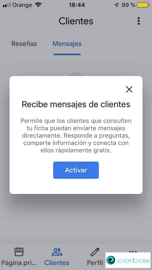 Activar recibir mensajes Chat Google My Business