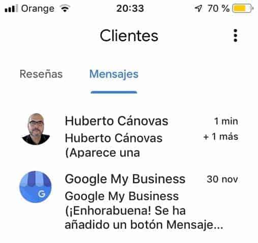 Tu ficha aparece en las respuestas google my business chat