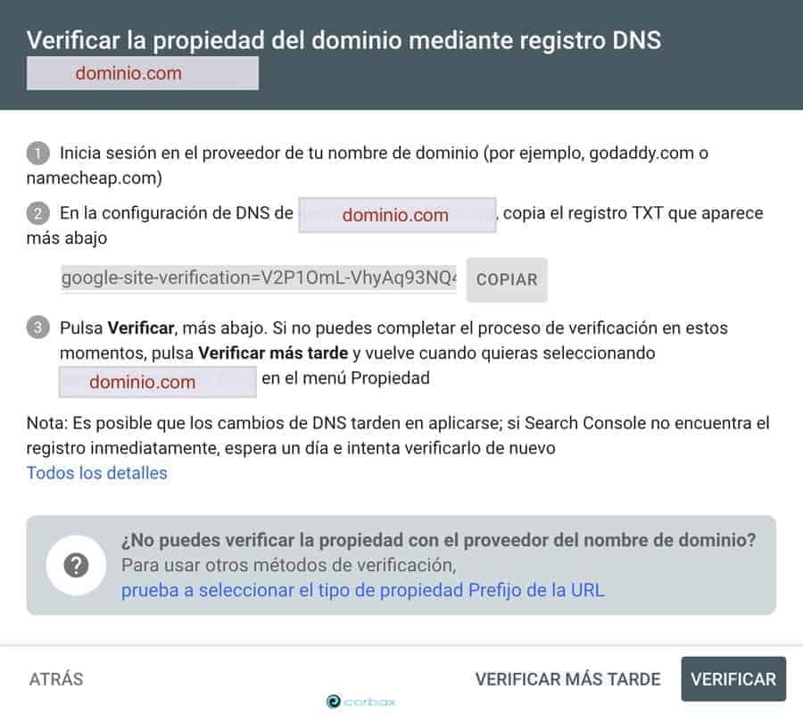 Verificación del dominio mediante DNS
