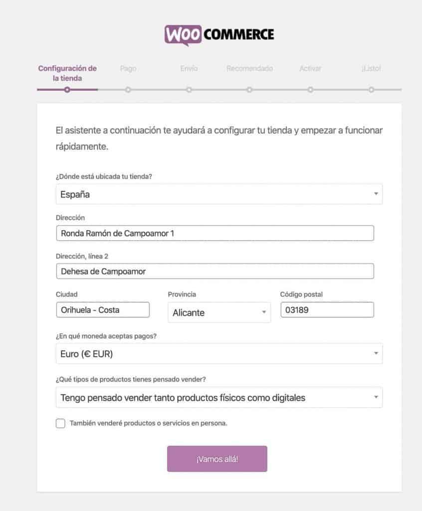 Asistente de configuración en WooCommerce