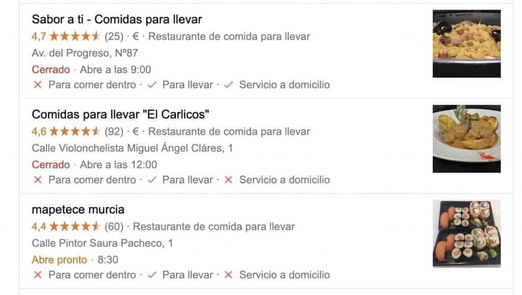 Una nueva función en la página de resultados del motor de búsqueda de Google que muestra si su restaurante ofrece comida para llevar y / o entrega