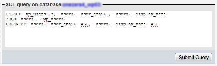 Update query desde la base de datos