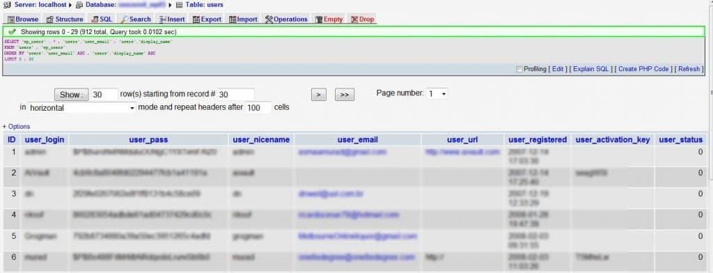 Modificar los datos de usuario desde la base de datos