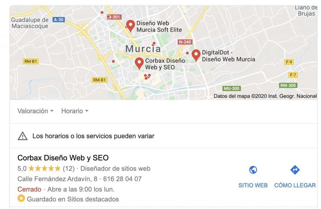 Ejemplo de cuadro resultados de búsqueda | Corbax Diseño Web y SEO